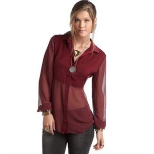 FREE PEOPLE Semi Sheer Burgundy Button Up Blouse S